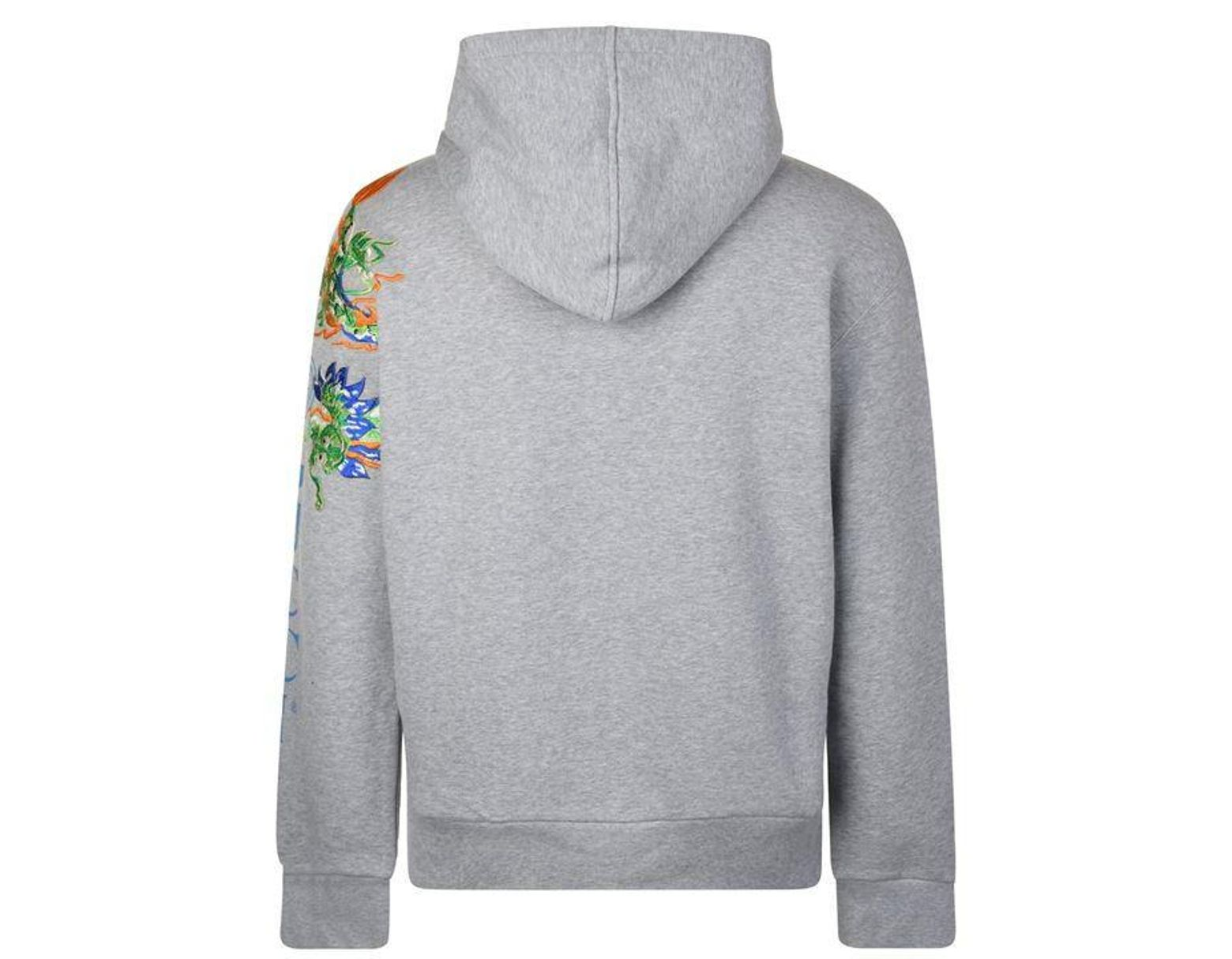 df5463b29c8 Gucci Fake Logo Embroidered Hooded Sweatshirt in Gray for Men - Lyst
