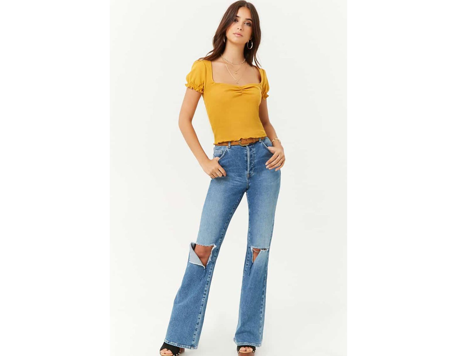 3e5521a91c56a5 Forever 21 Women's Ruched Lettuce-edge Top in Yellow - Lyst