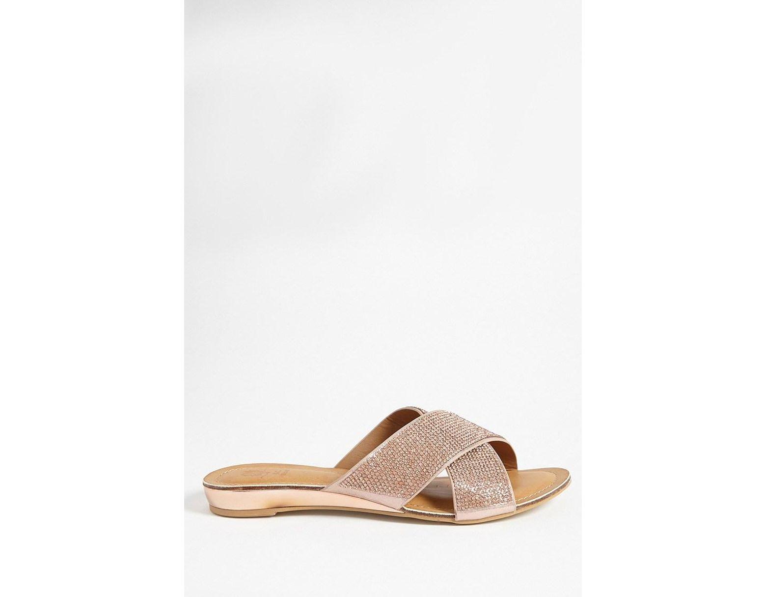 5660879152aa Lyst - Forever 21 Rhinestone-embellished Crisscross Slide Sandals - Save 13%