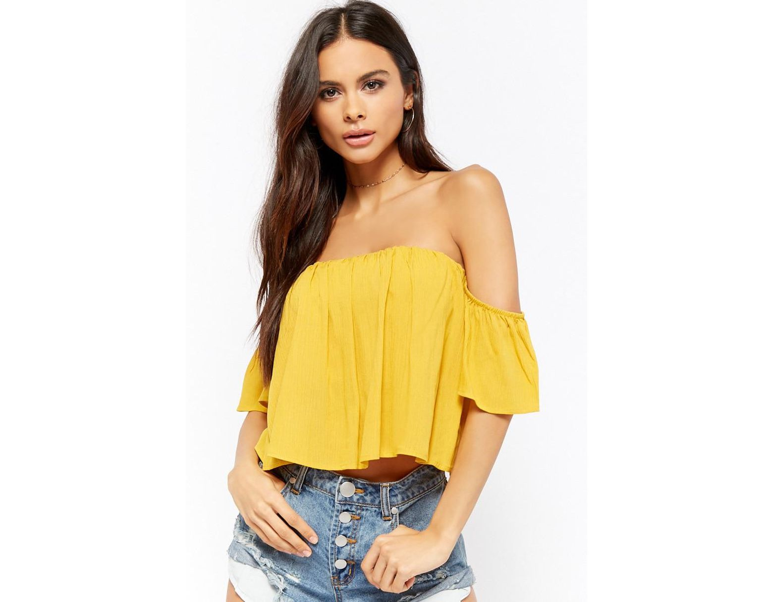 16ed8173514 Forever 21 Off-the-shoulder Self-tie Crop Top in Yellow - Lyst