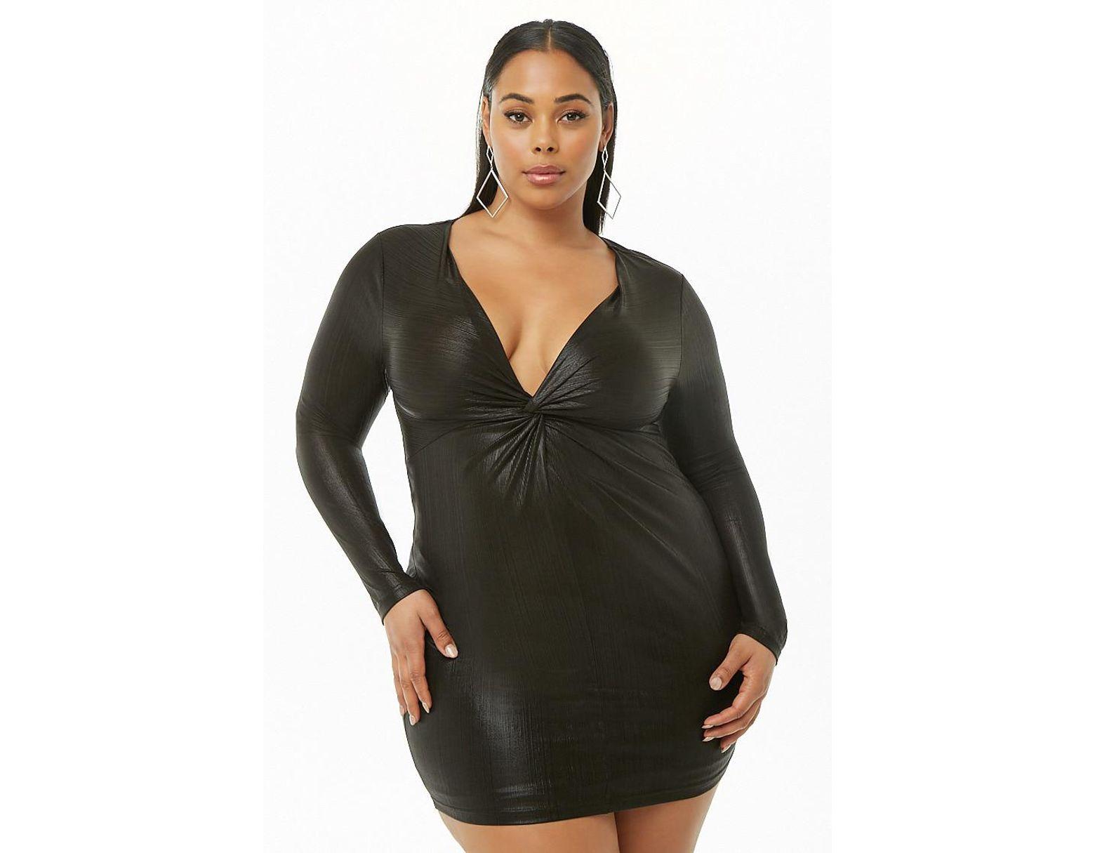 751bfd5a51 Forever 21 Women's Plus Size Metallic Twist-front Dress in Black - Lyst