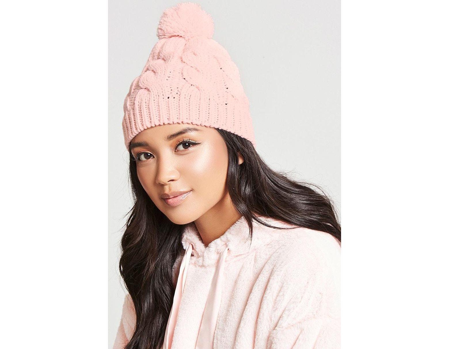 54b4b9c48 Women's Cable-knit Pom Pom Beanie , Pink