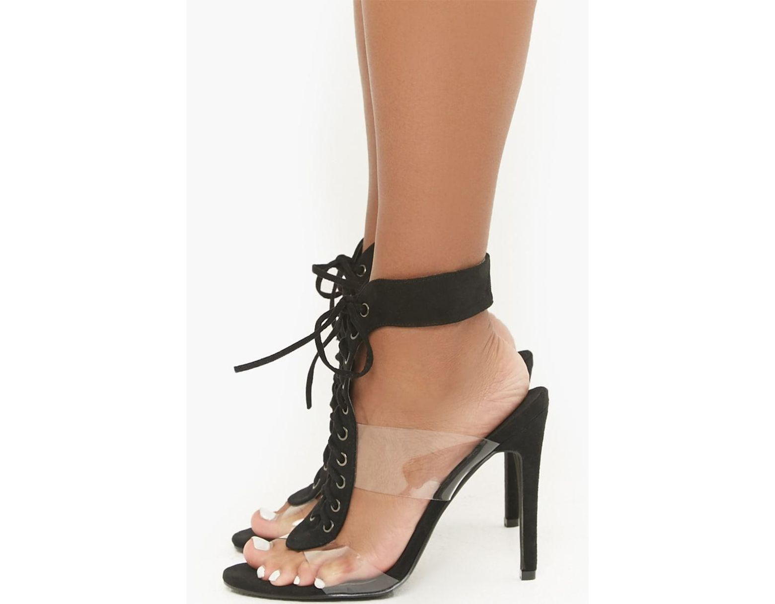 8c7c829139b26 Forever 21 Translucent Contrast Lace-up Heels , Black in Black - Lyst
