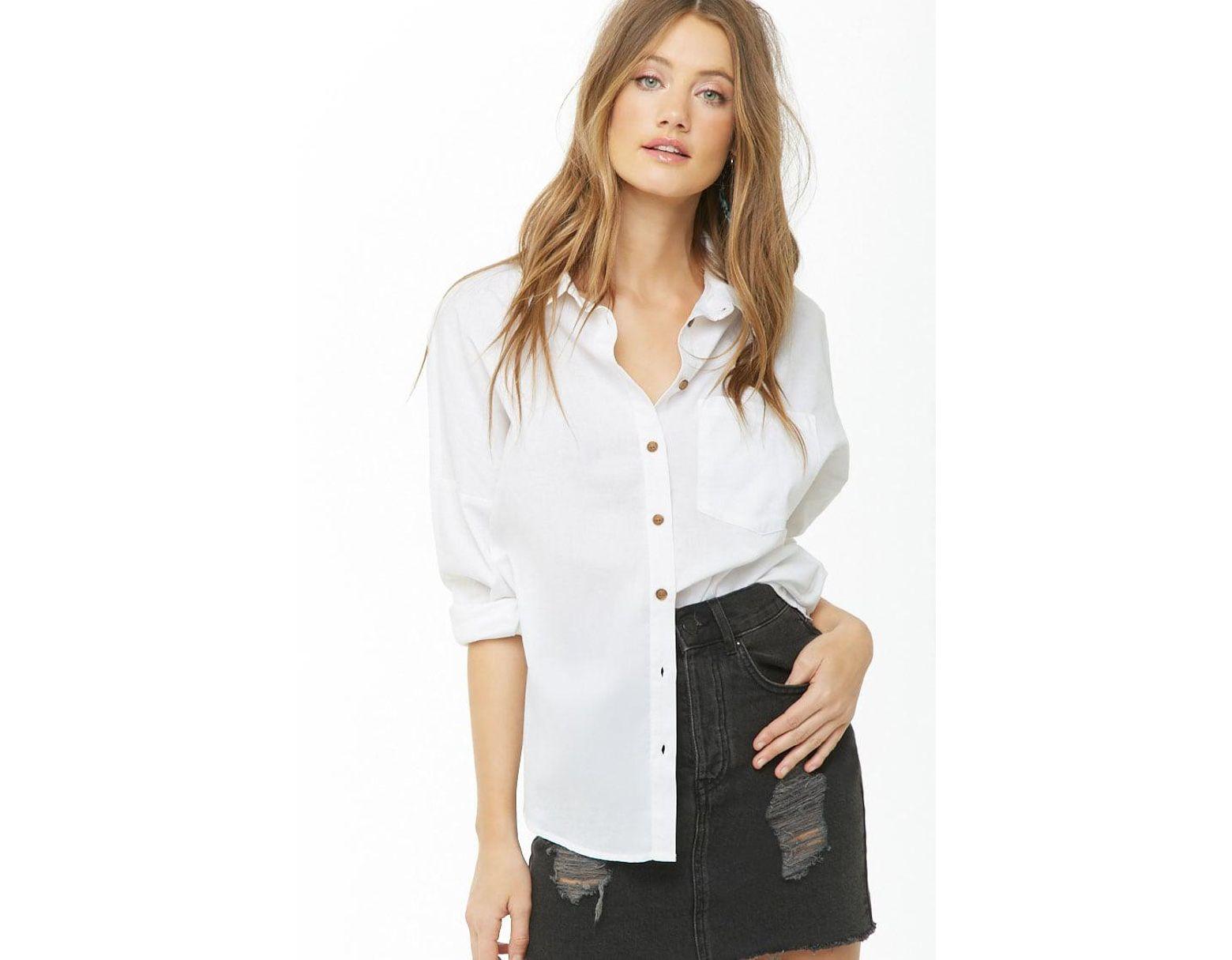 93bd80340545 Camisa de gasa de mujer de color blanco