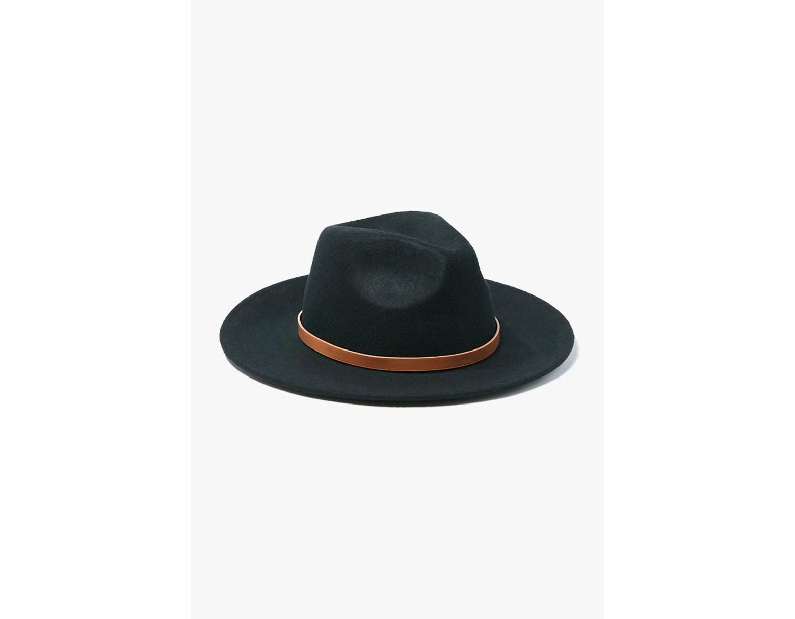 34e0134ba Forever 21 Wool Faux Leather-trim Fedora Hat , Black/brown in Black ...