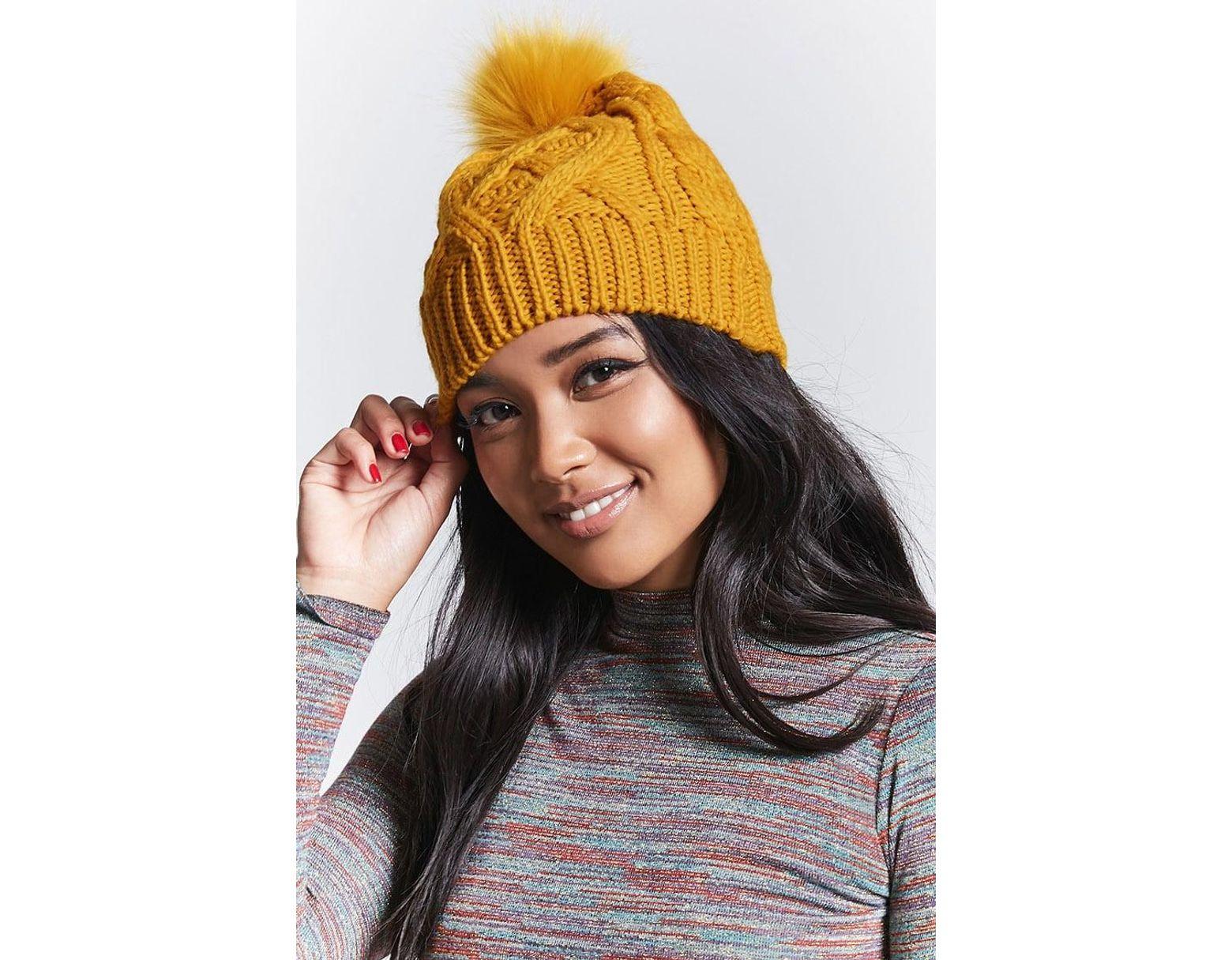 79c4e2794 Women's Cable Knit Pom Pom Beanie , Mustard