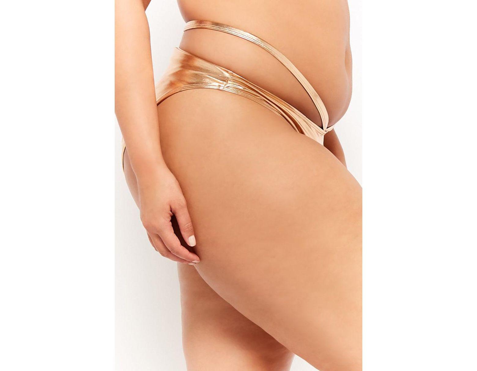 6cb51a75ba057 Forever 21 Women's Plus Size Metallic Strappy String Bikini Bottoms in  Metallic - Lyst