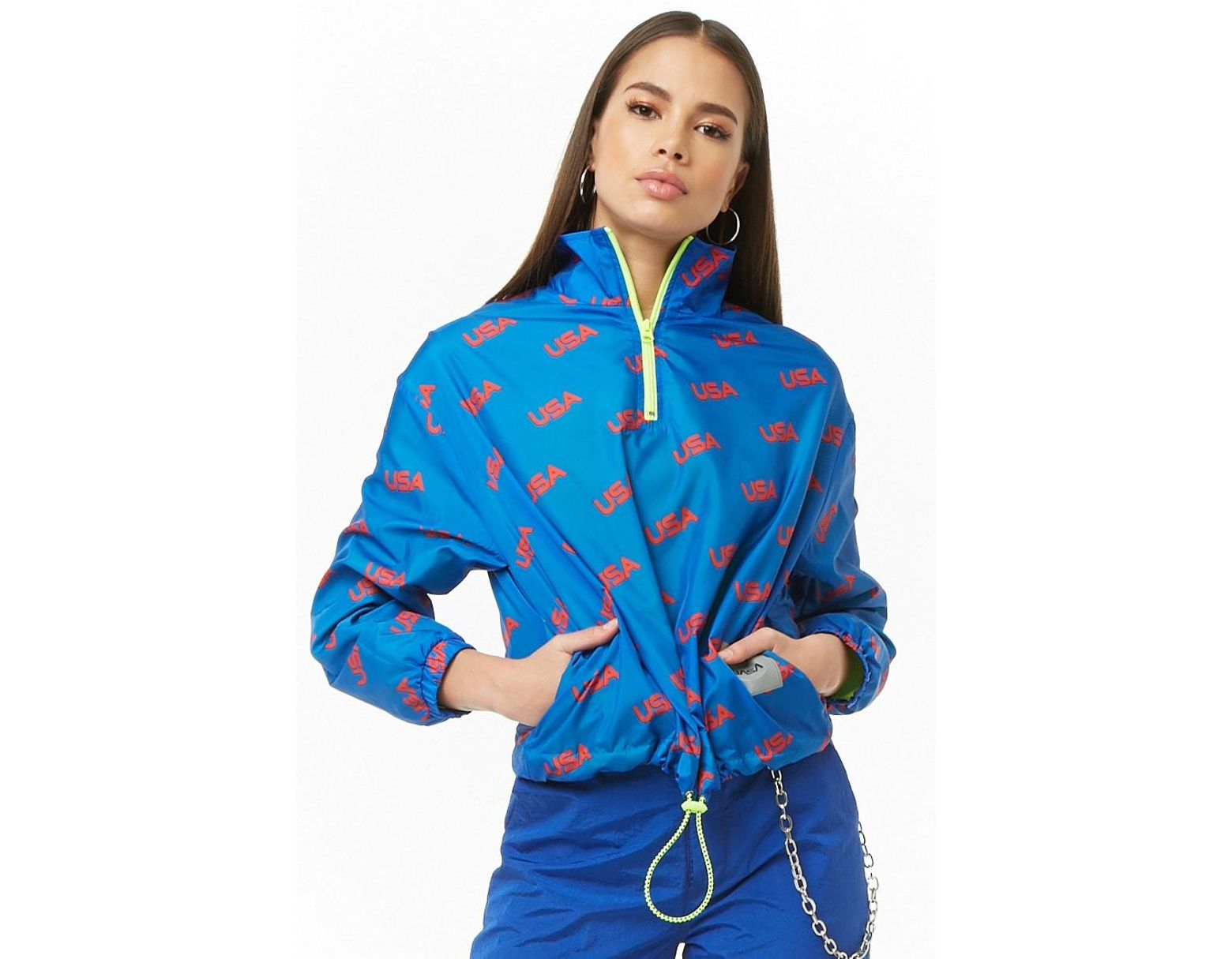 d7854a9f3 Women's Nasa Usa Print Anorak , Blue/red
