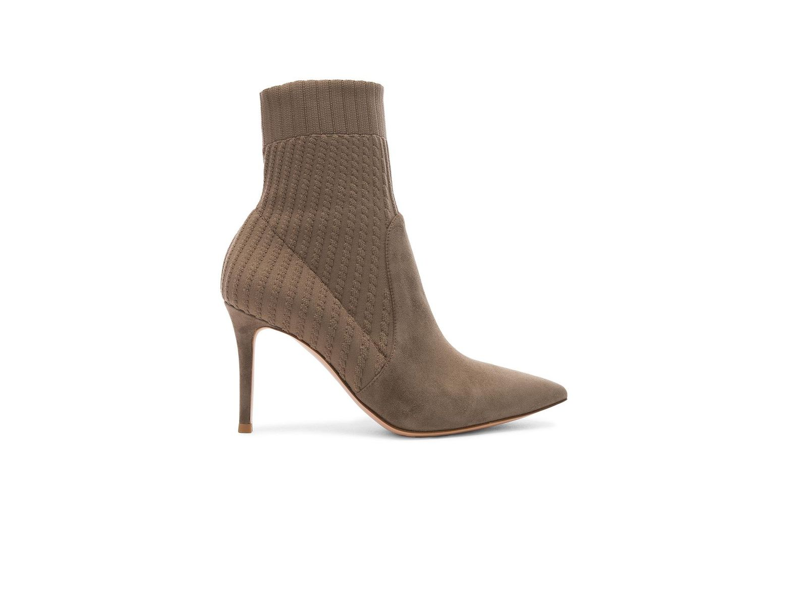fcc0dfcf0e1 Women's Brown Katie Suede And Ribbed-knit Ankle Boots