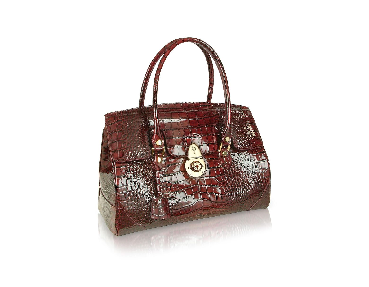 good performance sportswear more photos L.A.P.A. Ruby Red Croco Stamped Patent Leather Satchel Bag ...