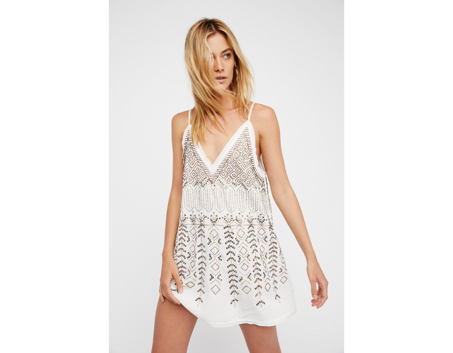 7efa5bb5a6299 Free People Arizona Nights Embellished Slip By Intimately in White - Lyst