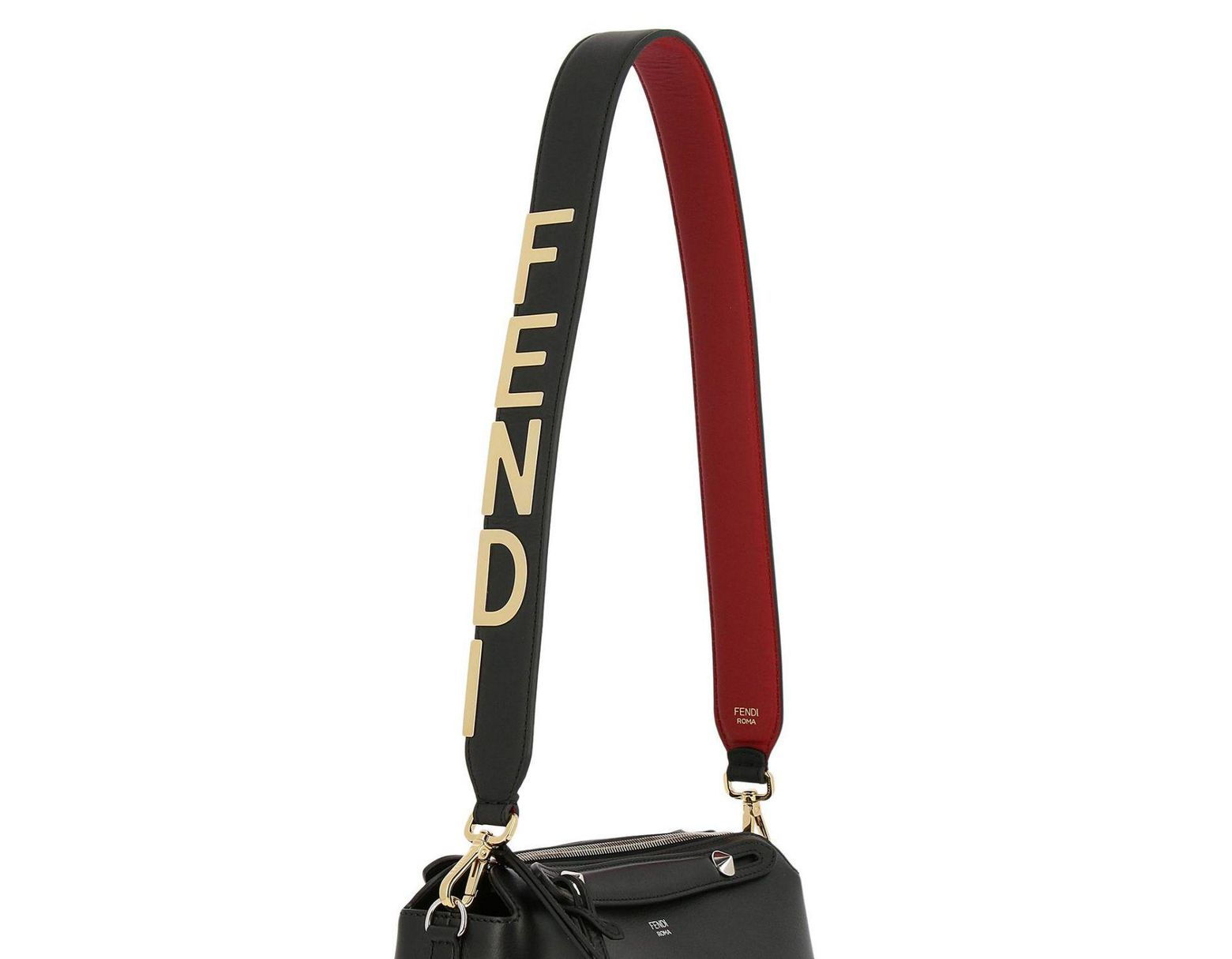 582e6b75 Women's Black Maxi Strap You Shoulder Bag In Genuine Leather Century With  Metallic Logo