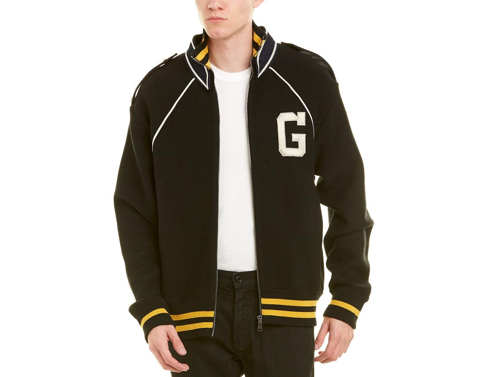 153f2ea3f Gucci G Monogram Wool Varsity Jacket in Black for Men - Save 50% - Lyst