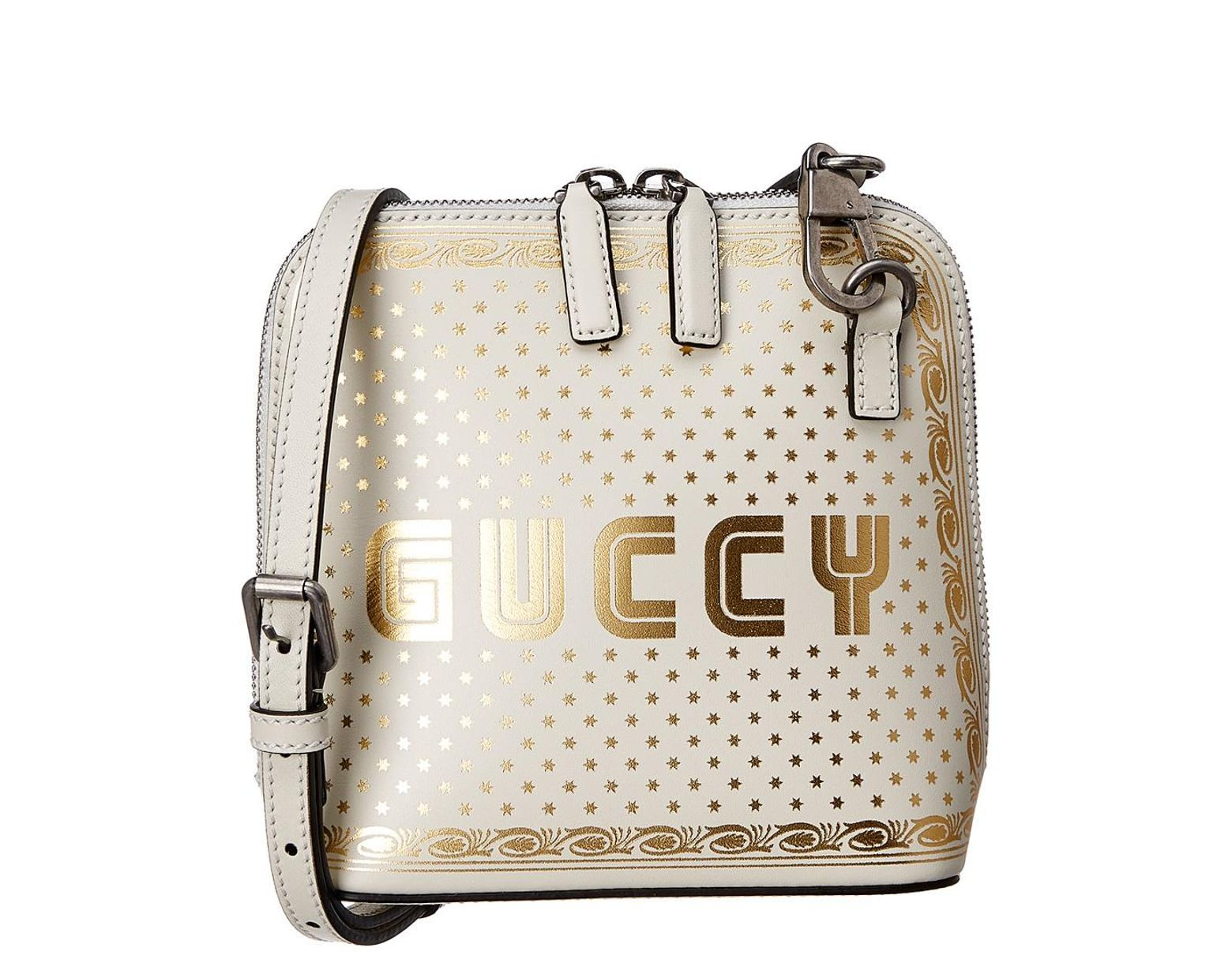 9922937e0d Gucci White Guccy Mini Leather Shoulder Bag in White - Save 51% - Lyst