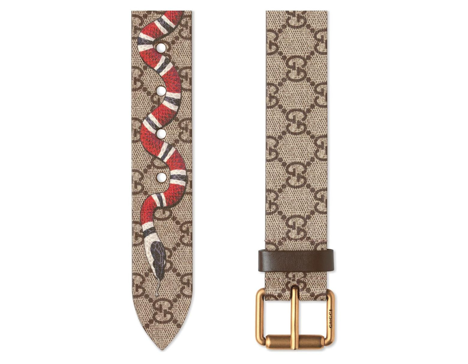 c8b5454160b Lyst - Gucci Snake Print Gg Supreme Belt for Men - Save 36%