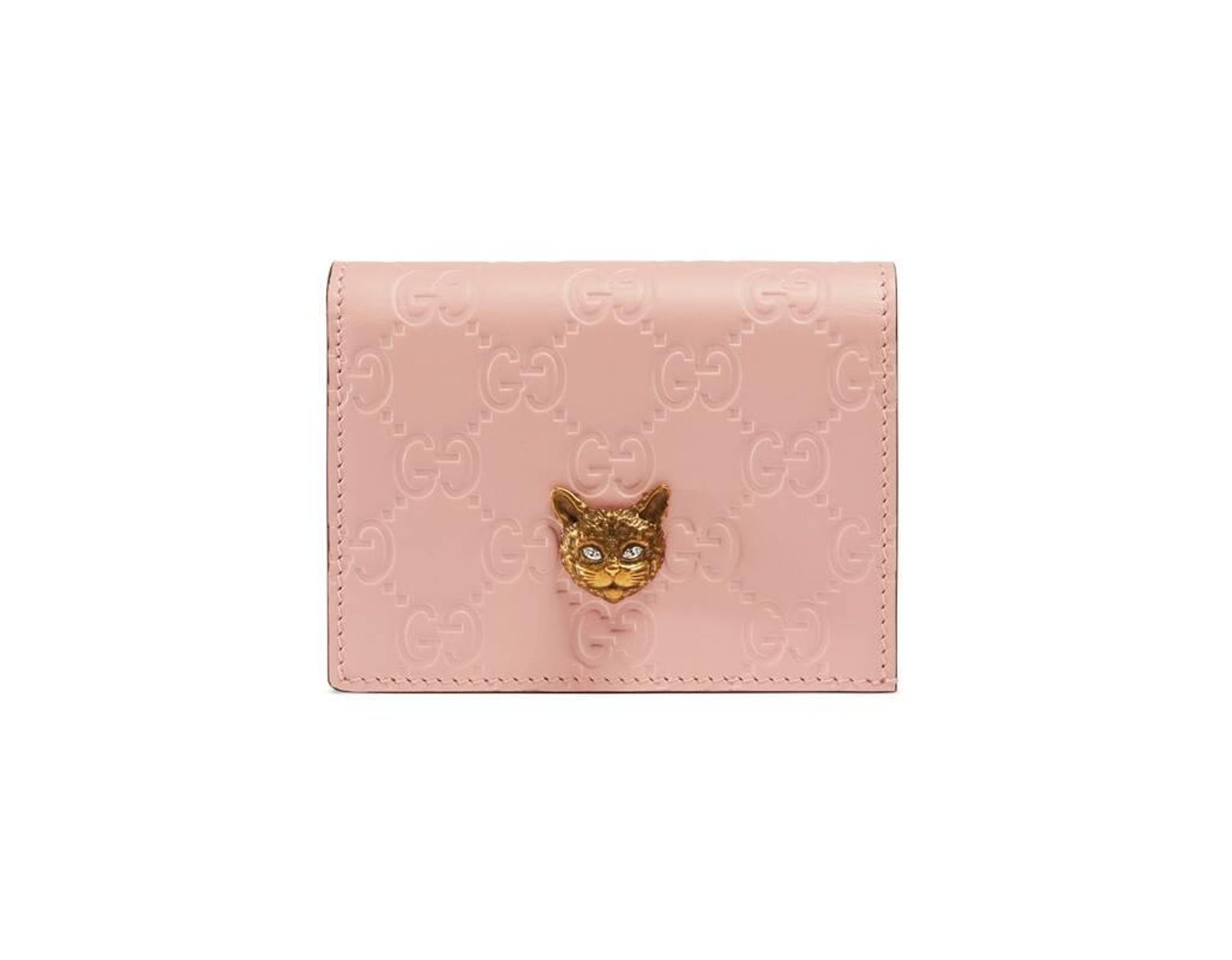 brand new 0a306 eda37 Women's Pink Signature Card Case Wallet With Cat