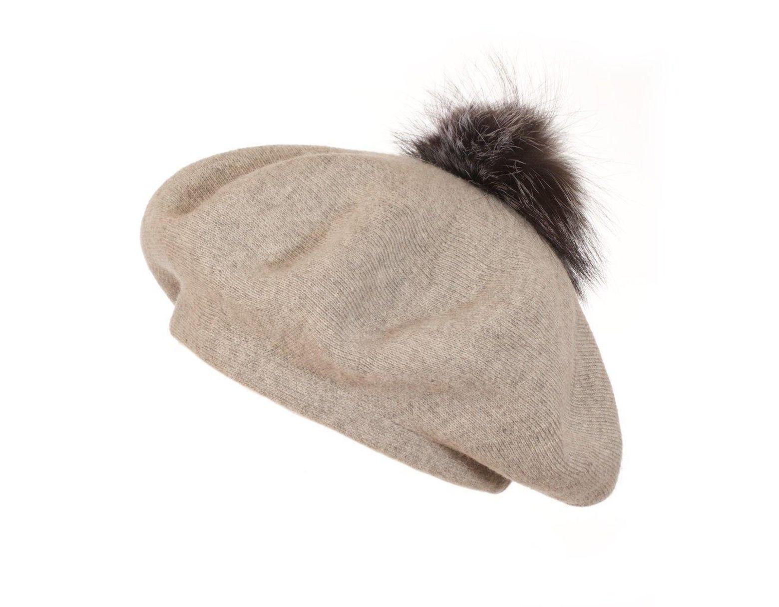 921654a59 Women's Gray Bella Beret Fur Pom Pom Hat In Whisper Grey