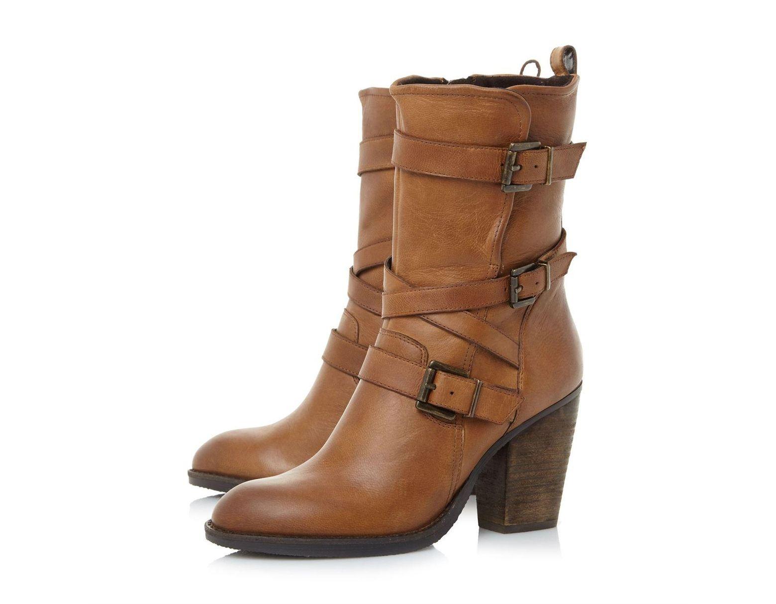 37ab8bbd7e7 Women's Brown Wen Sm Heeled Buckle Calf Boots