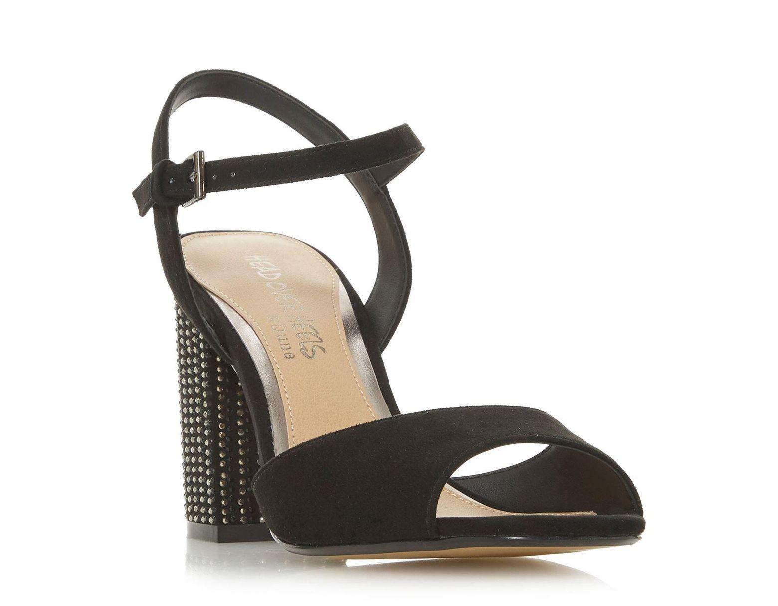 Heel Embellish Women's Black Bead Mandy Block Sandals NPn0O8wkX