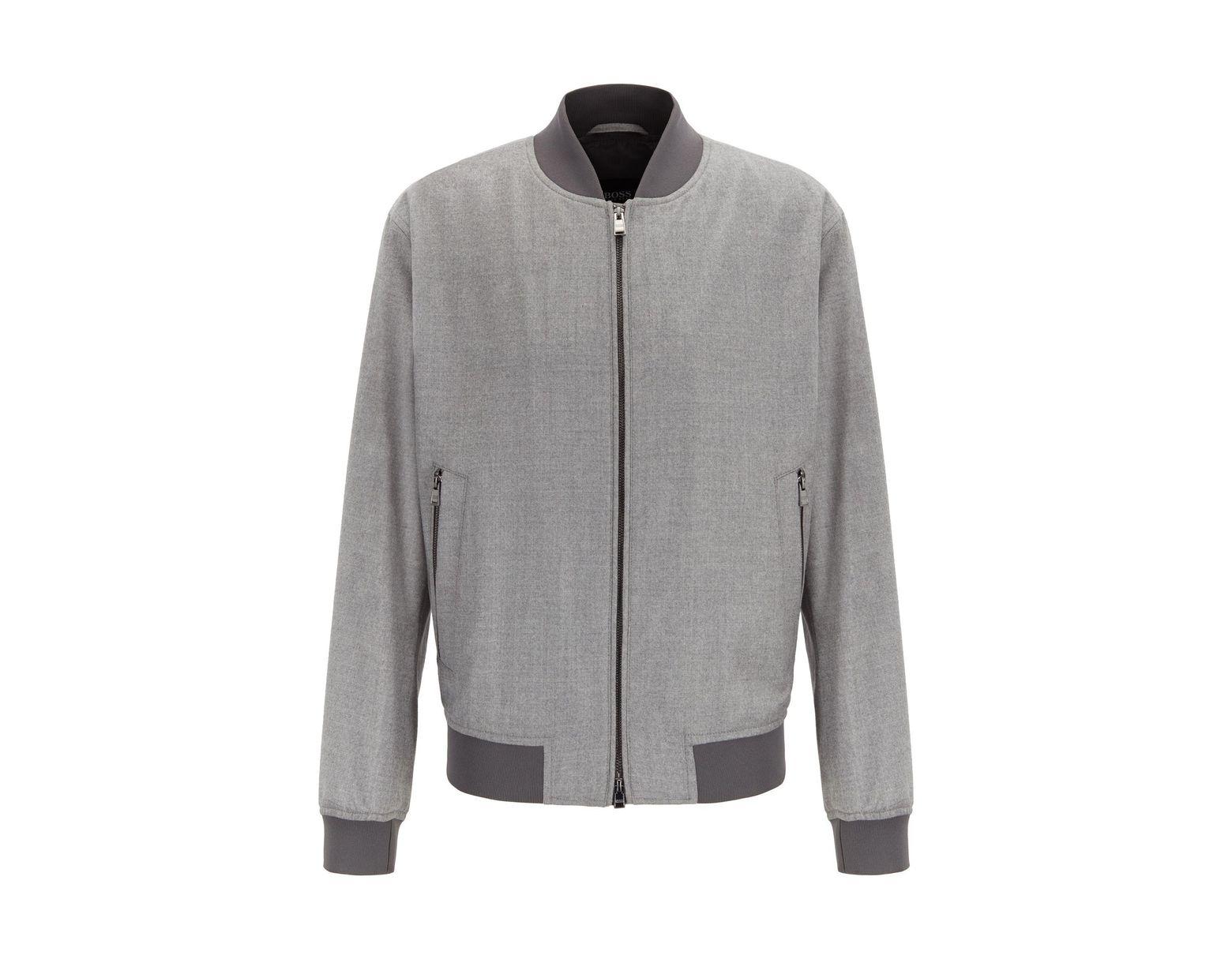 super service pas cher à vendre bonne texture Men's Gray Blouson-style Bomber Jacket In Virgin-wool Flannel