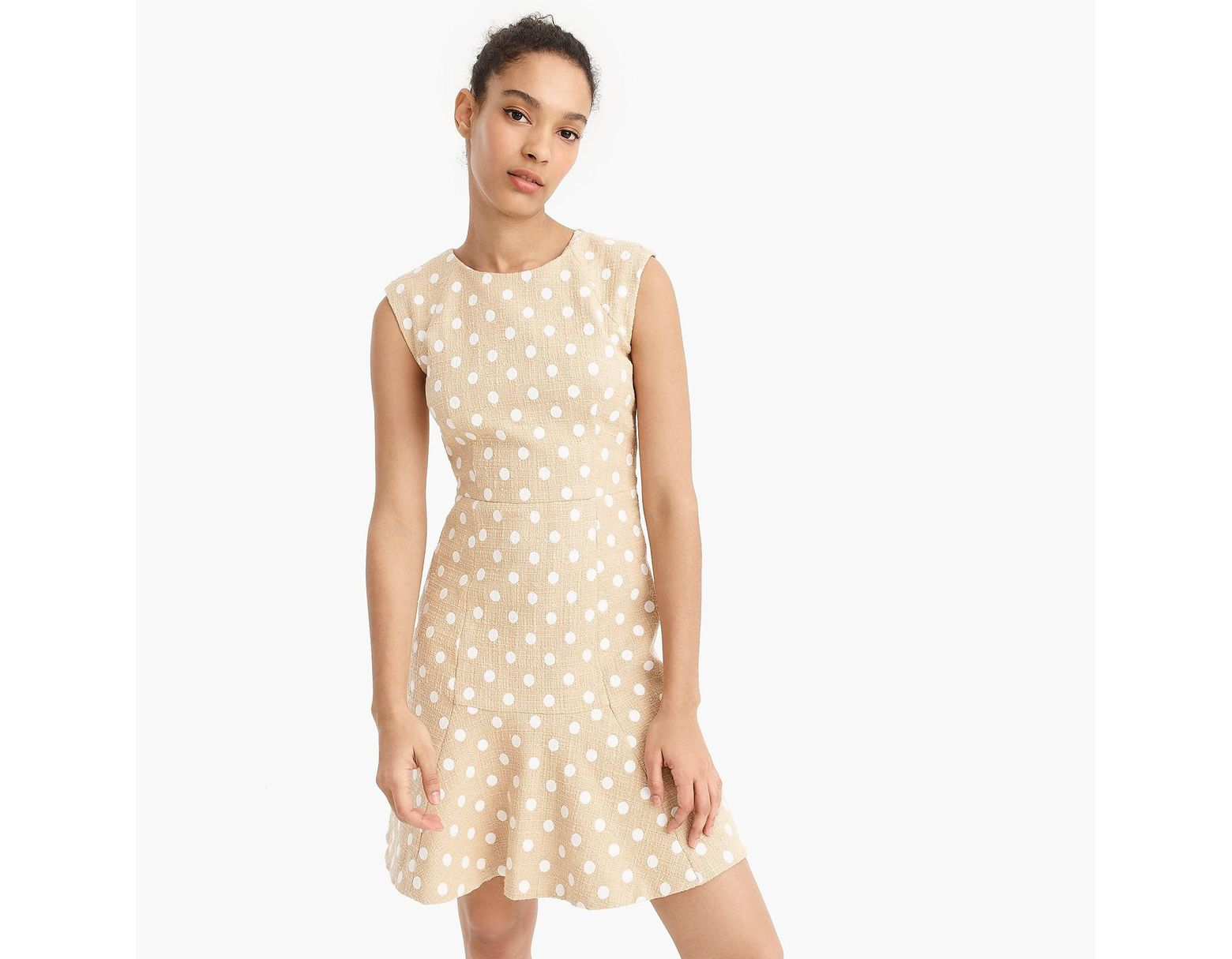 7fc19a25 J.Crew Tall A-line Dress In Polka-dot Embroidered Tweed With Fluted Hem in  White - Lyst