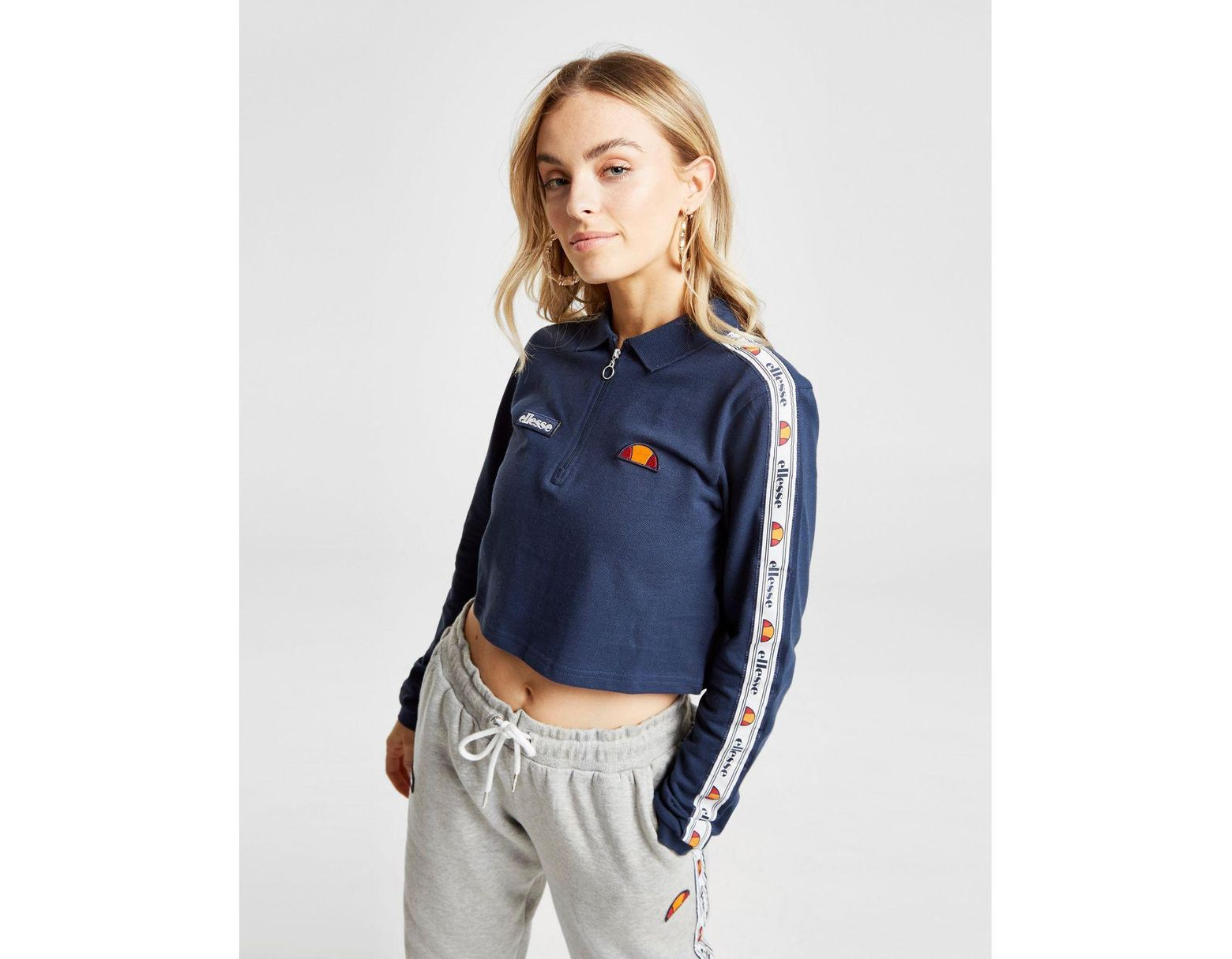 d2da313e Ellesse Tape Long Sleeve Crop Polo Shirt in Blue - Lyst