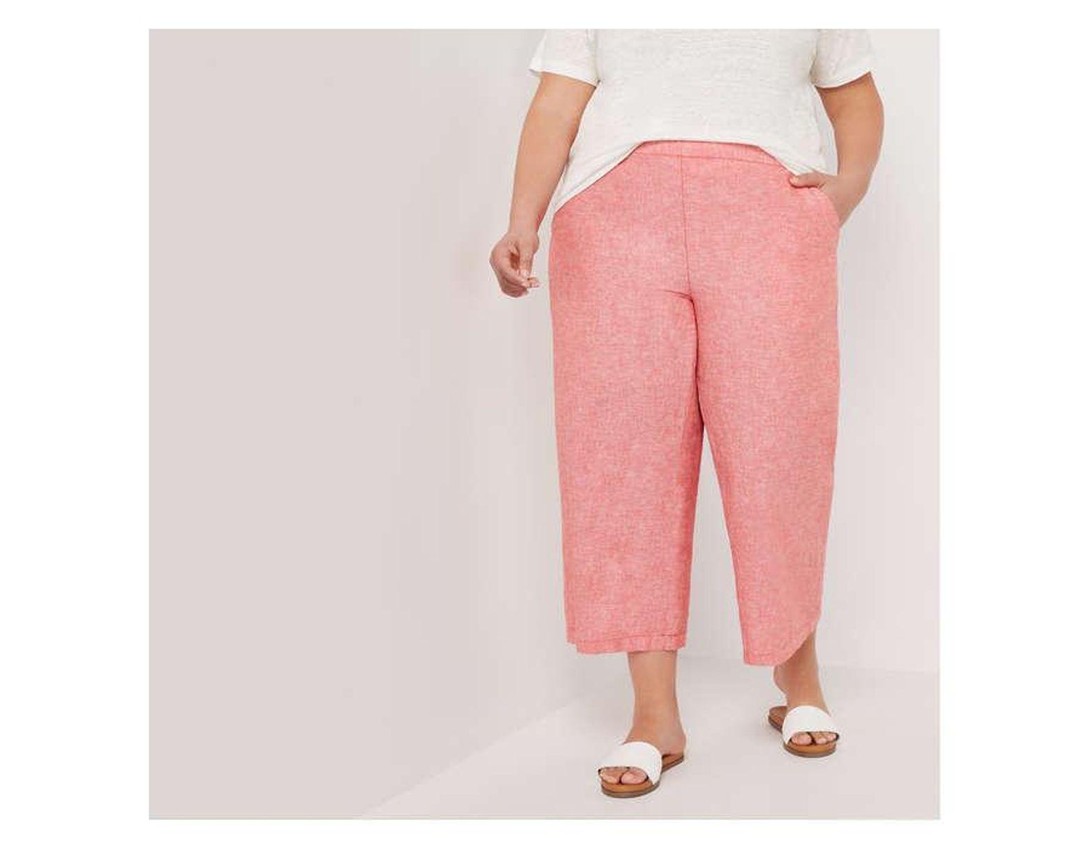 6ca93321aeed64 Joe Fresh Women+ Linen Blend Crosshatch Wide Leg Capri in Pink - Lyst