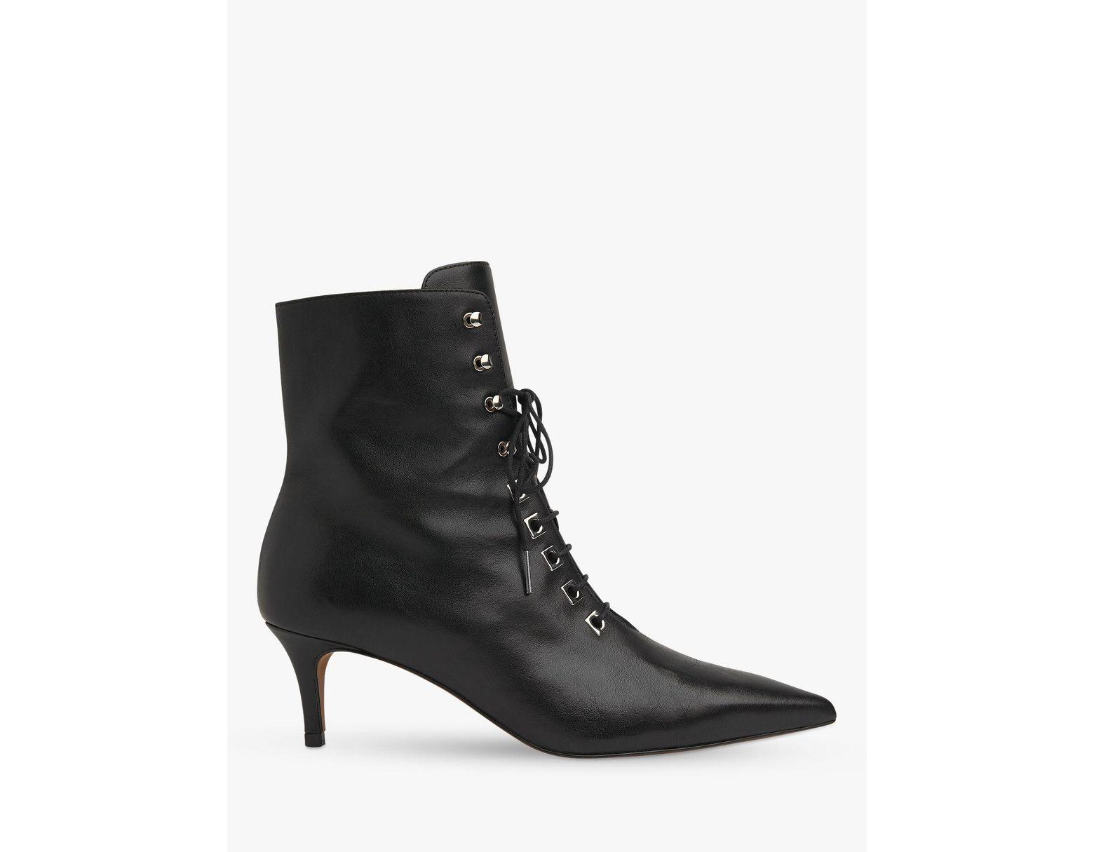 b21234155ef Black Women's Celeste Leather Kitten Heel Booties