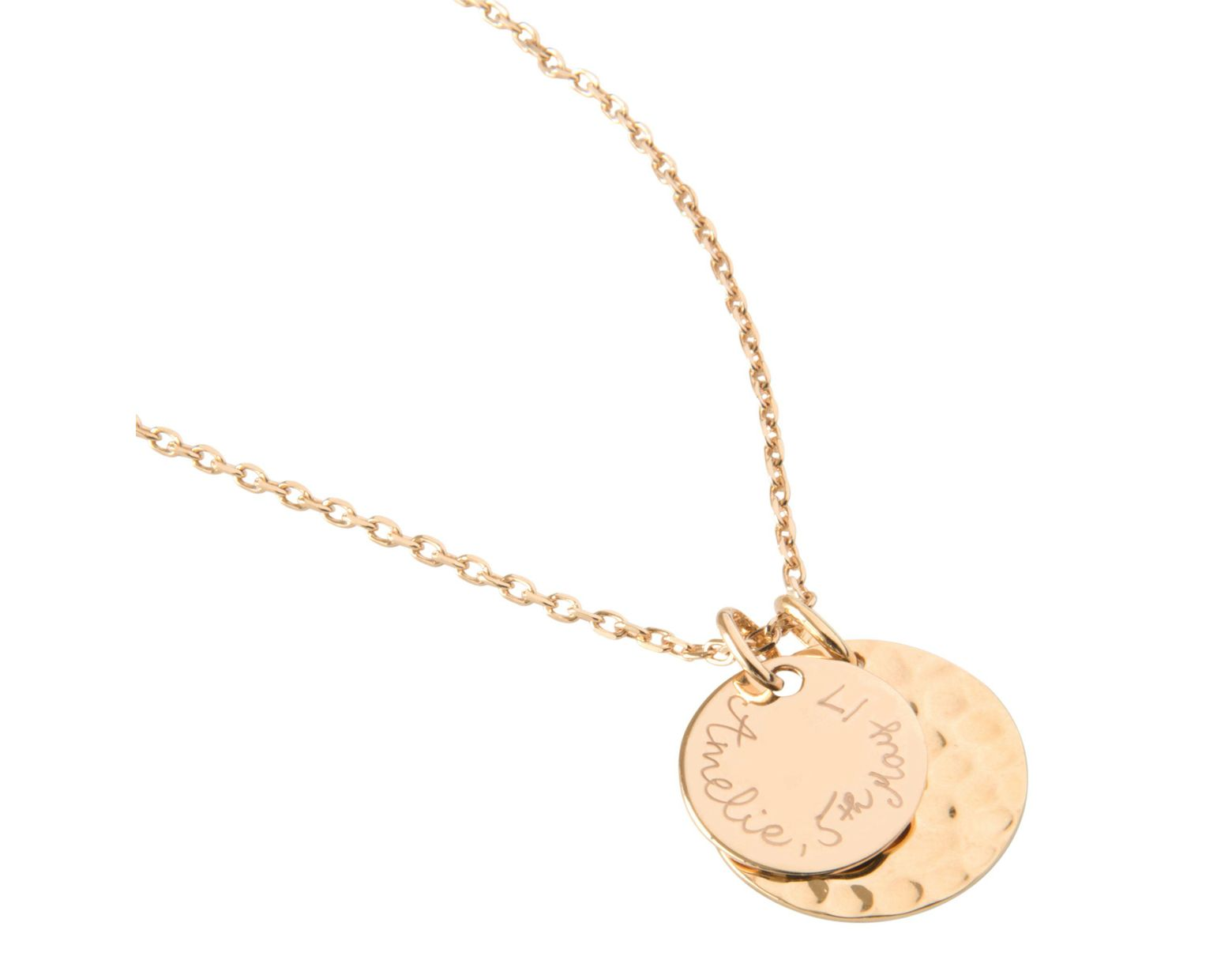 cbeff33f089c5 Women's Metallic Personalised Double Hammered And Polished Disc Pendant  Necklace