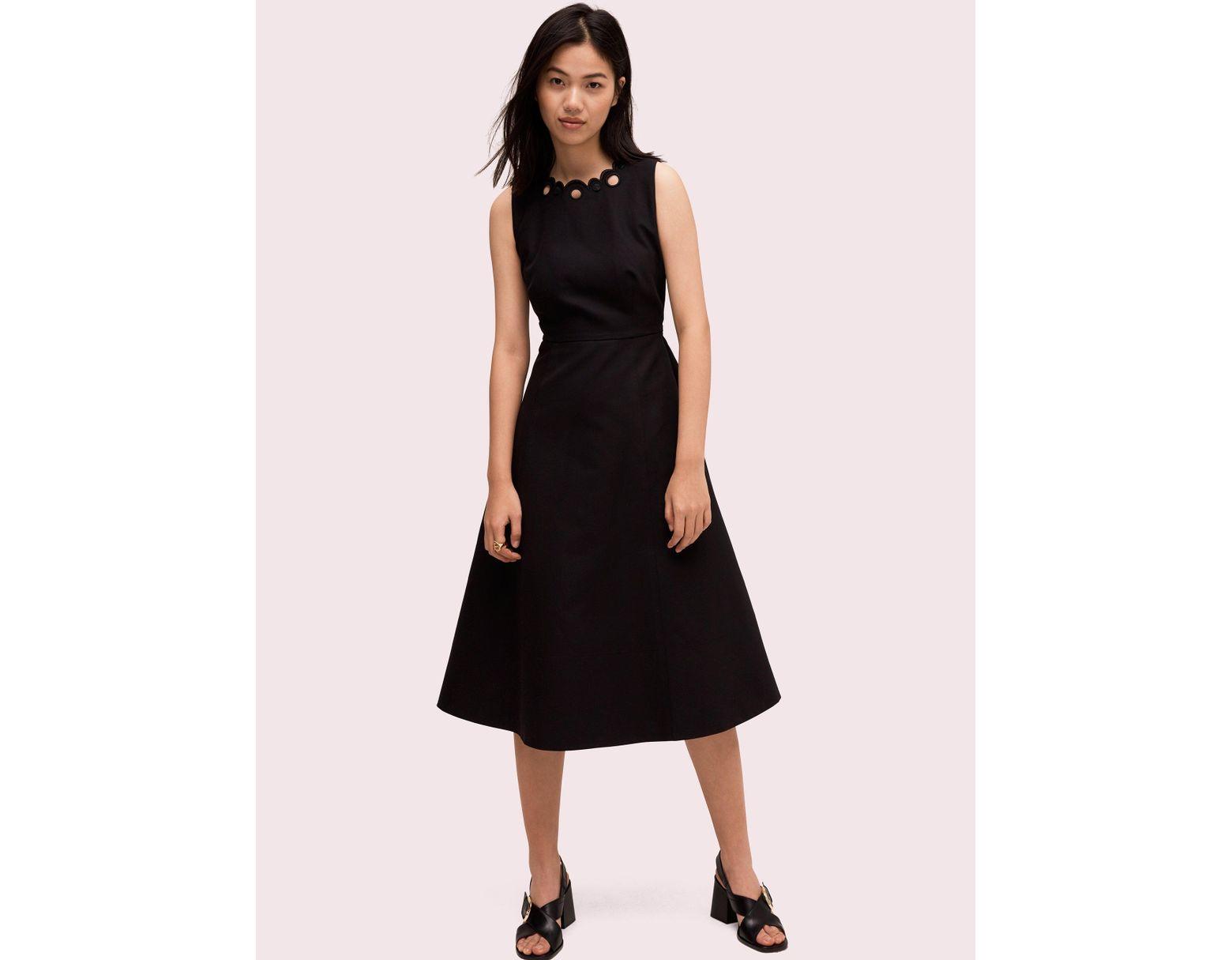 a48209f3d81 Kate Spade Scallop Cutout Midi Dress in Black - Lyst