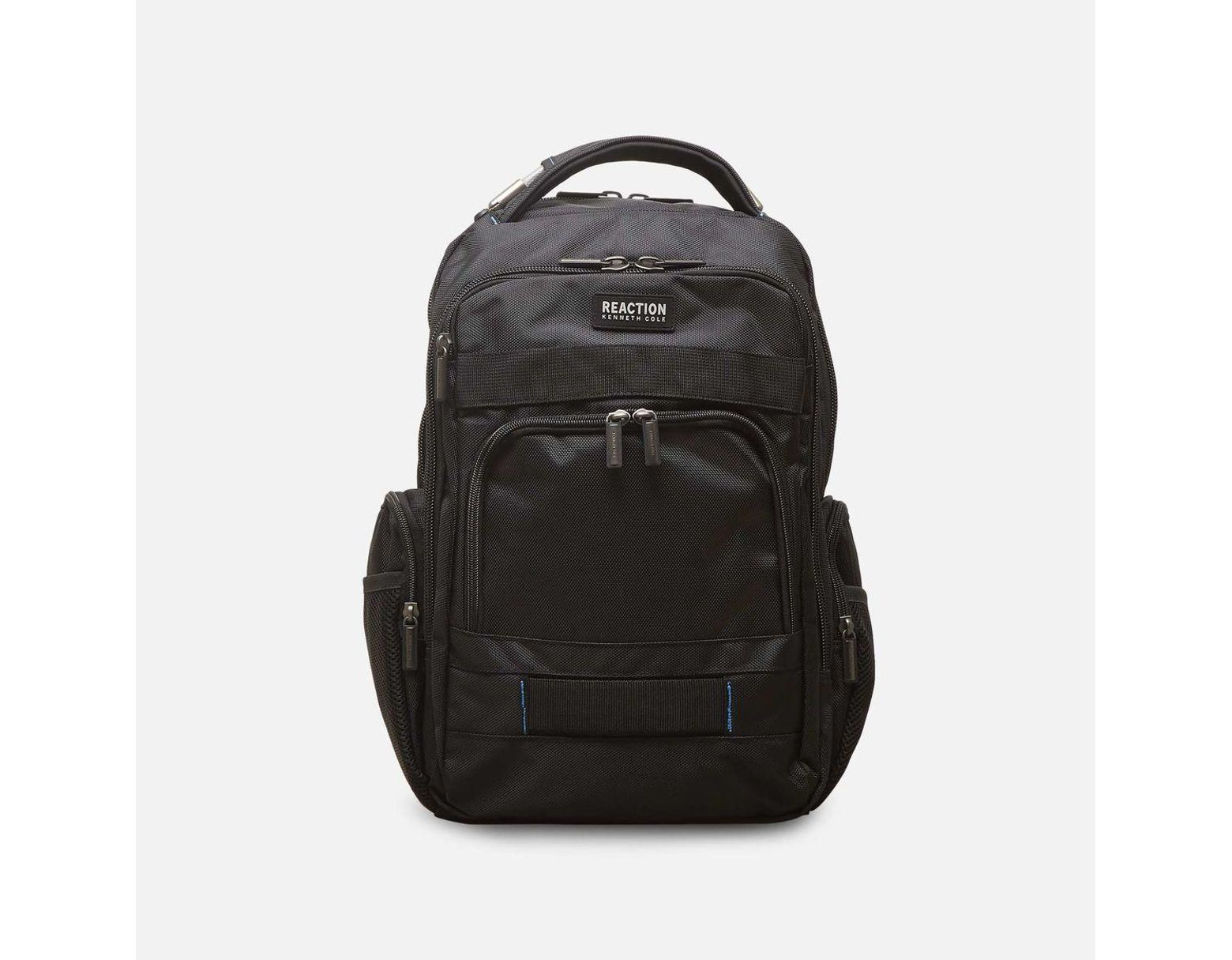 9028906cac06 Black Triple Compartment Laptop Backpack In Tear Resistant Pindot