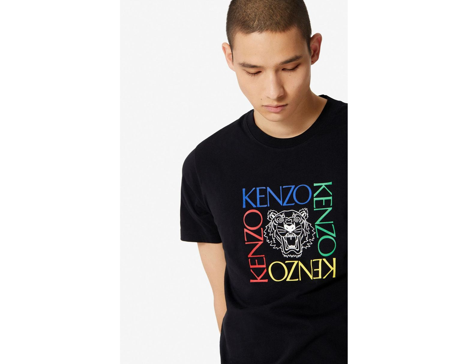 b48753477c Men's Black 'tiger Square' T-shirt