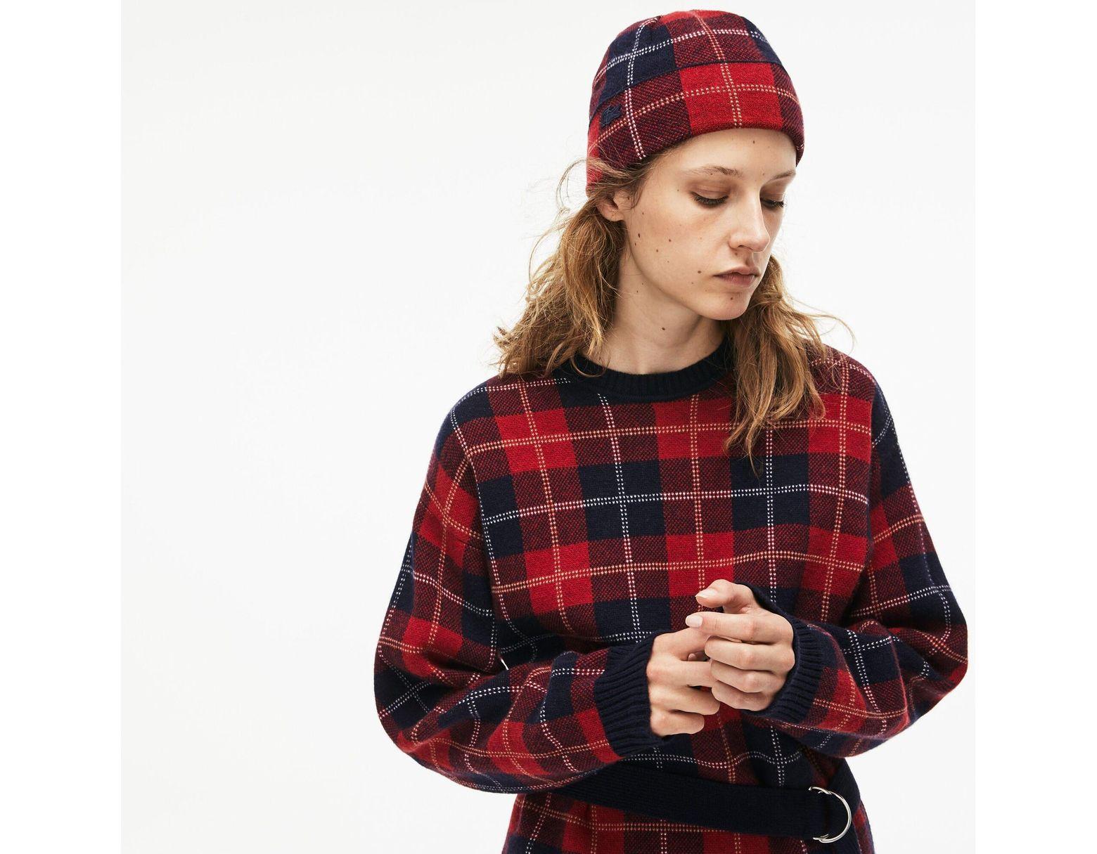 341d40428f Women's Red Stand-up Neck Tartan Check Print Wool Jacquard Sweater