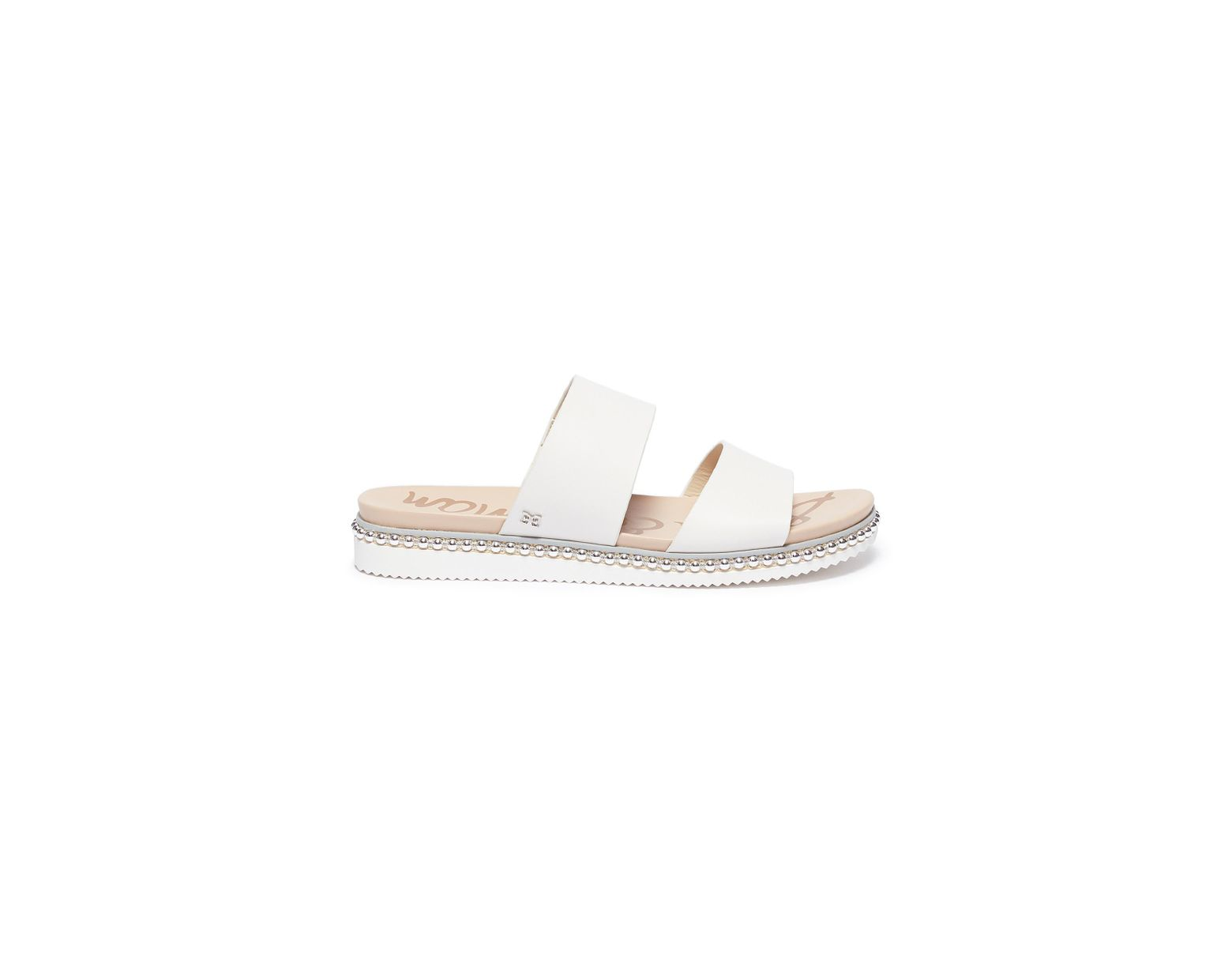 fffa2c9fa Sam Edelman 'asha' Stud Welt Leather Slide Sandals in White - Lyst