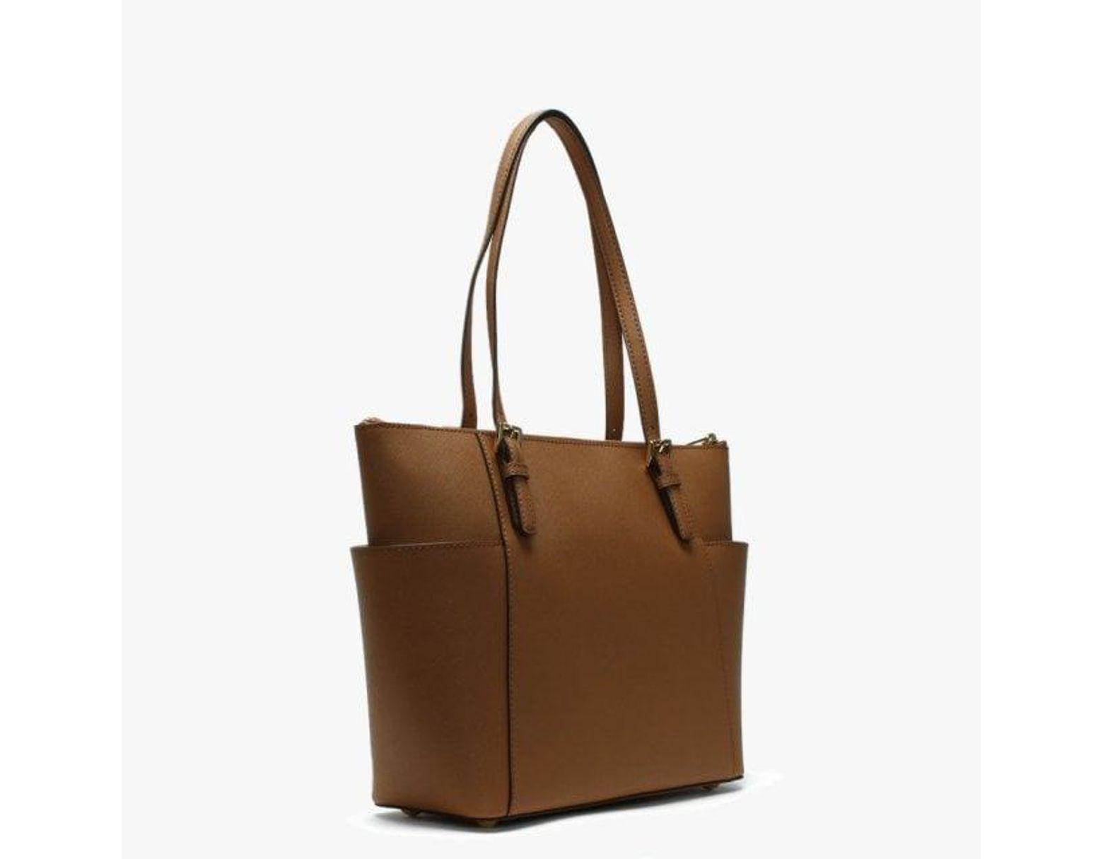 816ee40e5239 Michael Kors Jet Set Pocjet Set Pocket Acorn Leather Top Zip Tote Bag in  Brown - Lyst