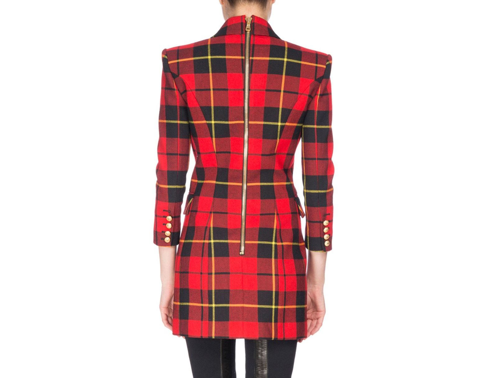 0323c33e Balmain Tartan Double-breasted Minidress Red/black in Red - Lyst