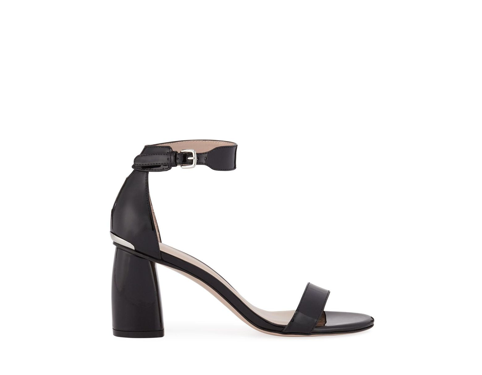 Ankle Black Sandals Strap Partlynude Patent Women's BQrCeWdxo