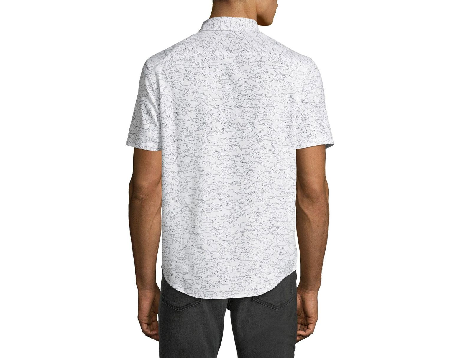 b910daff Original Penguin Men's Shark-print Short-sleeve Oxford Shirt in White for  Men - Lyst