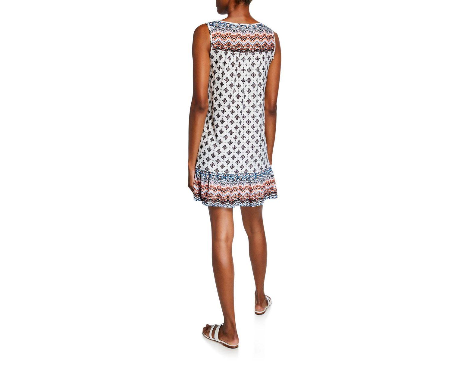 ad4c0f2f9c05 Neiman Marcus Border-print Keyhole Tank Dress in White - Lyst