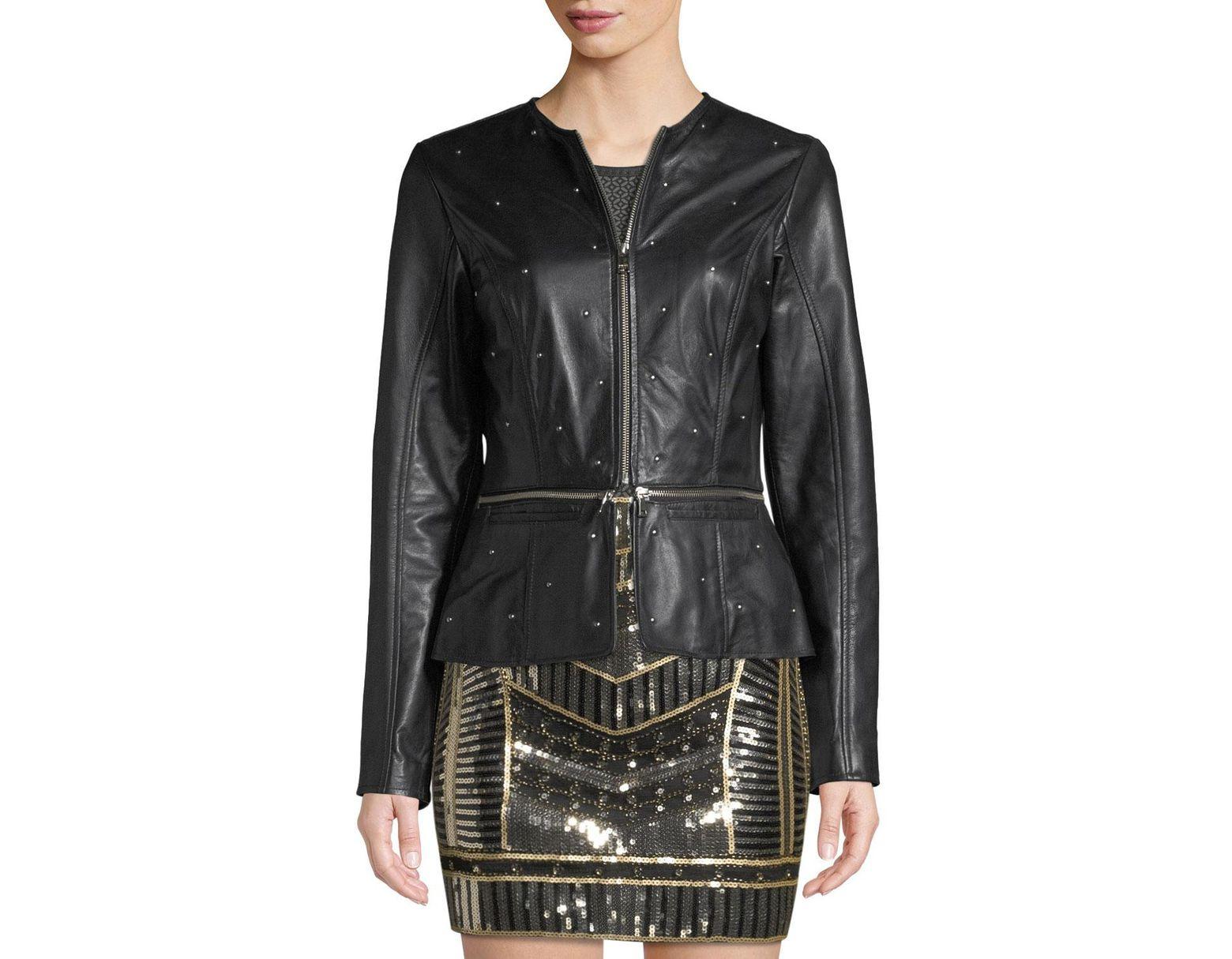 128f9a44d Women's Black Studded Leather Biker Jacket With Removable Hem