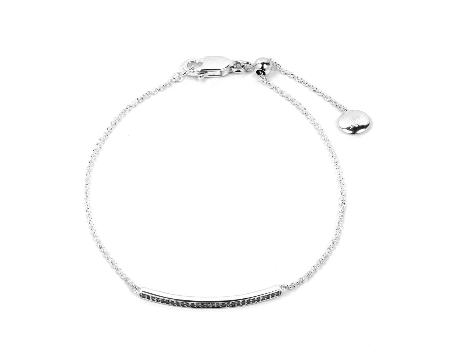 9210bd0a70be5 Monica Vinader Silver Skinny Short Diamond Bar Bracelet in Metallic ...