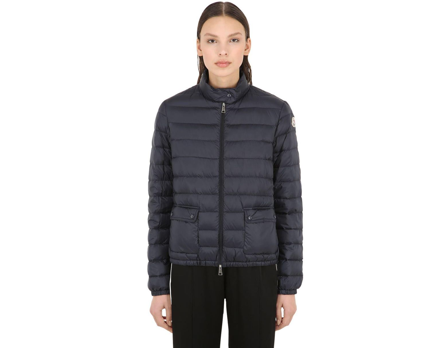 8dc09b77e Moncler Lans Longue Saison Nylon Down Jacket in Blue - Lyst