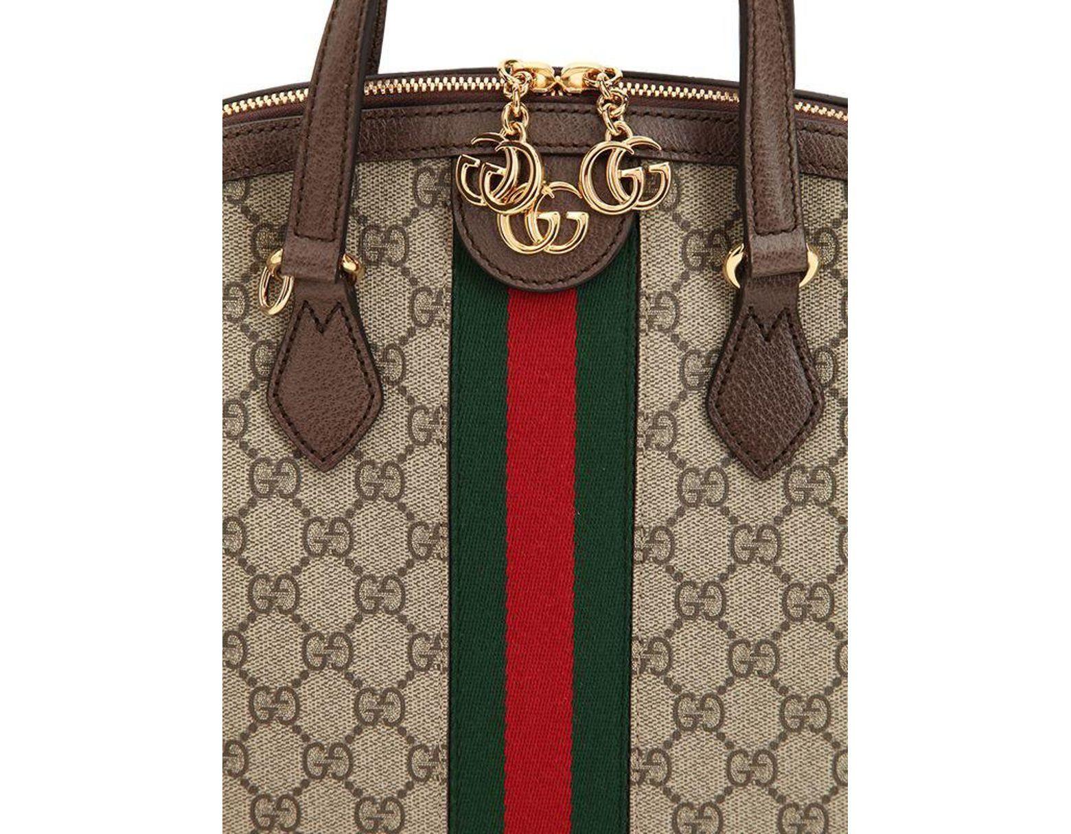 b96bb0139f4b Gucci Beige Ophidia GG Medium Top Handle Bag in Brown - Save 23% - Lyst