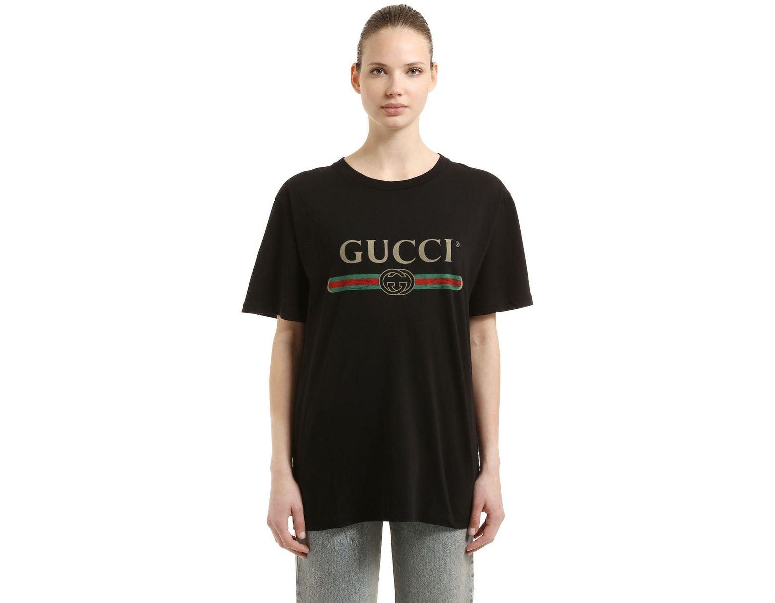ae7be114d2 T-shirt en coton à imprimé logo femme de coloris noir