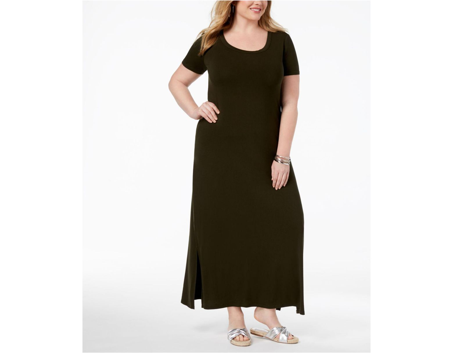 Women\'s Black Plus Size T-shirt Maxi Dress