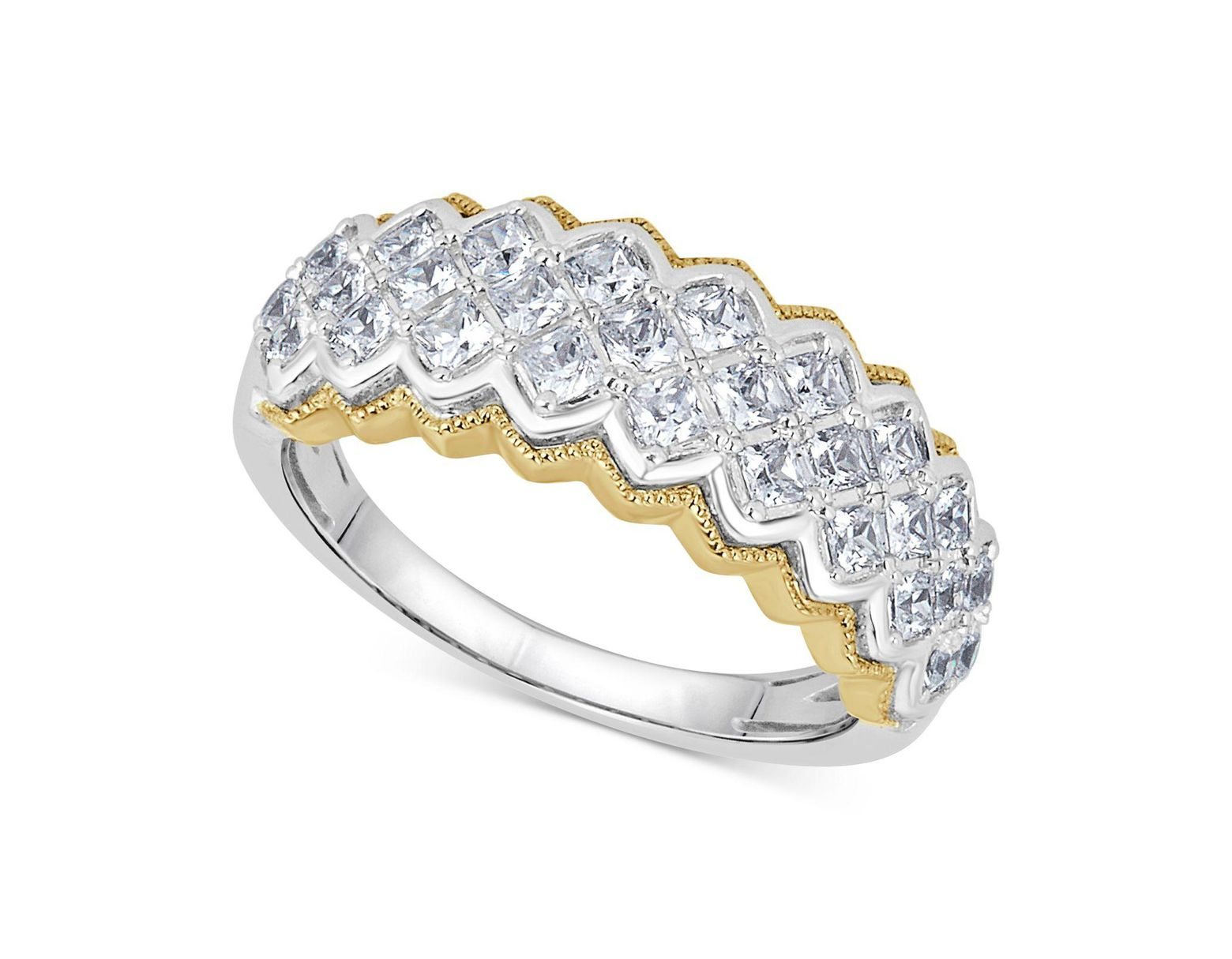 59390bb8625dc Macy's Diamond Two-tone Pyramid Band (1 Ct. T.w.) In 14k Gold ...