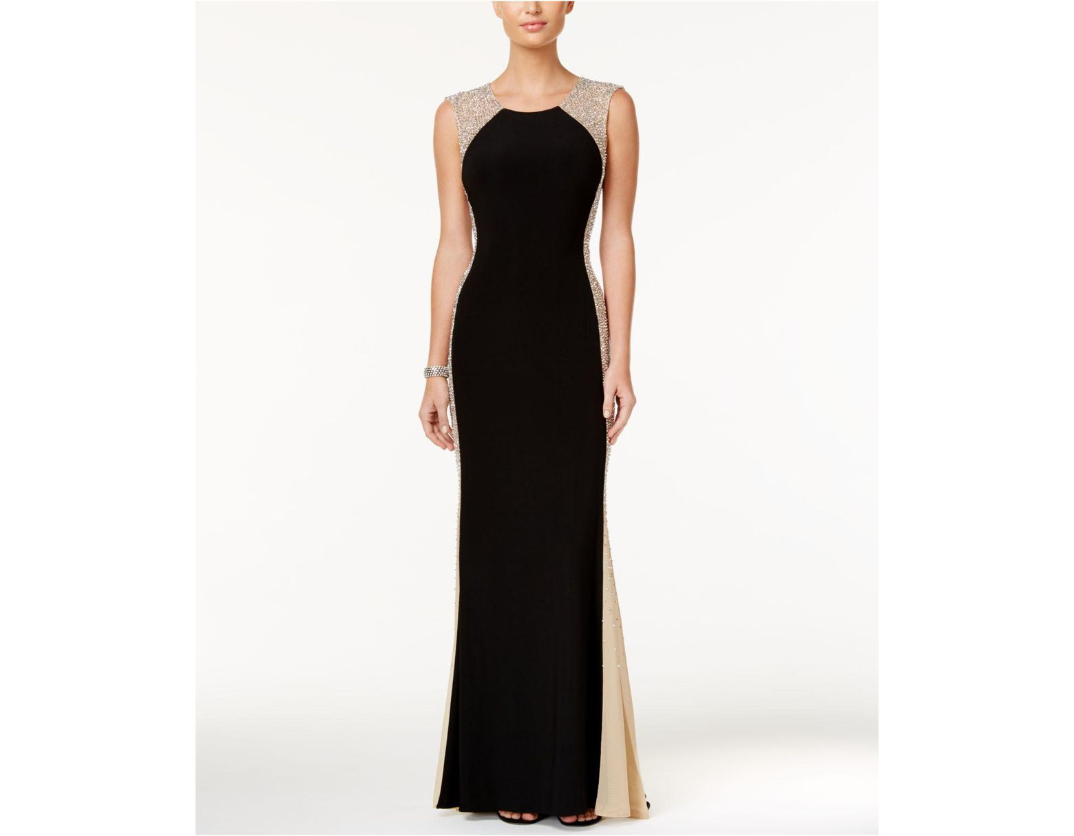 c0d6fe9cffc Xscape Petite Beaded Illusion Gown in Black - Lyst