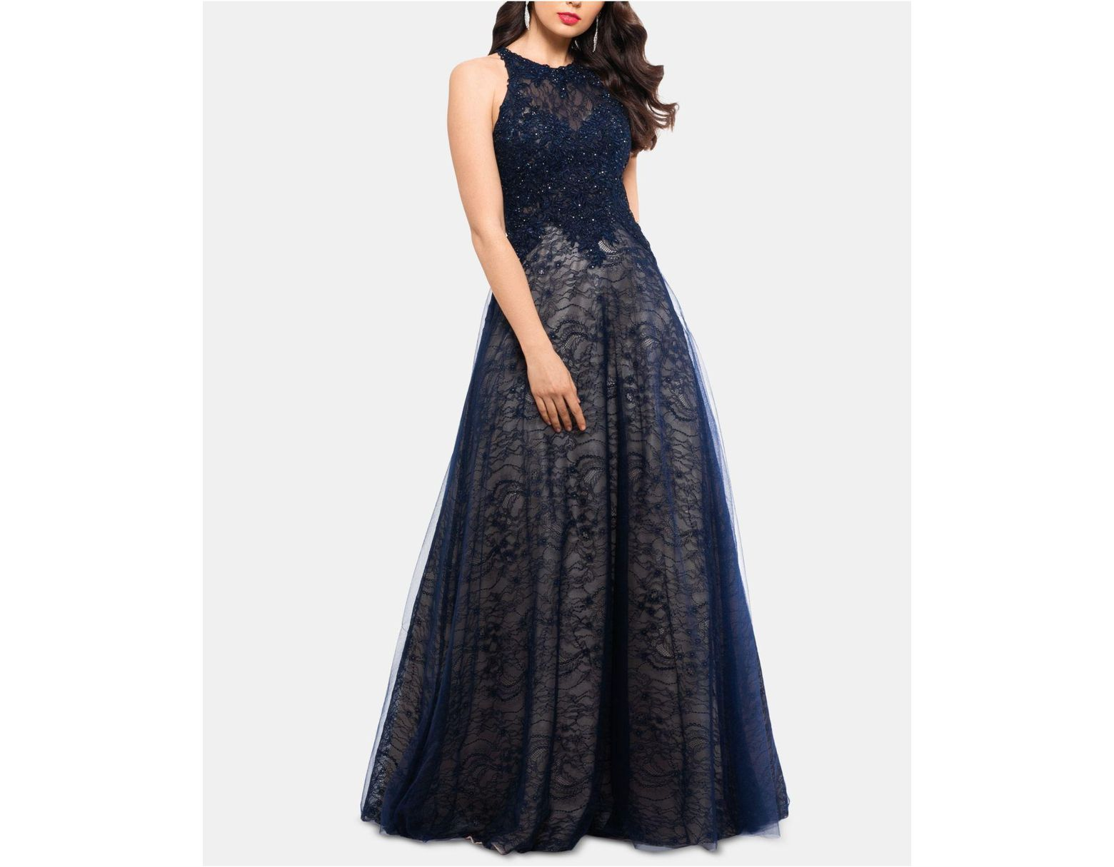 124a4521901 Xscape Lace-top High-neck Gown in Blue - Save 37% - Lyst