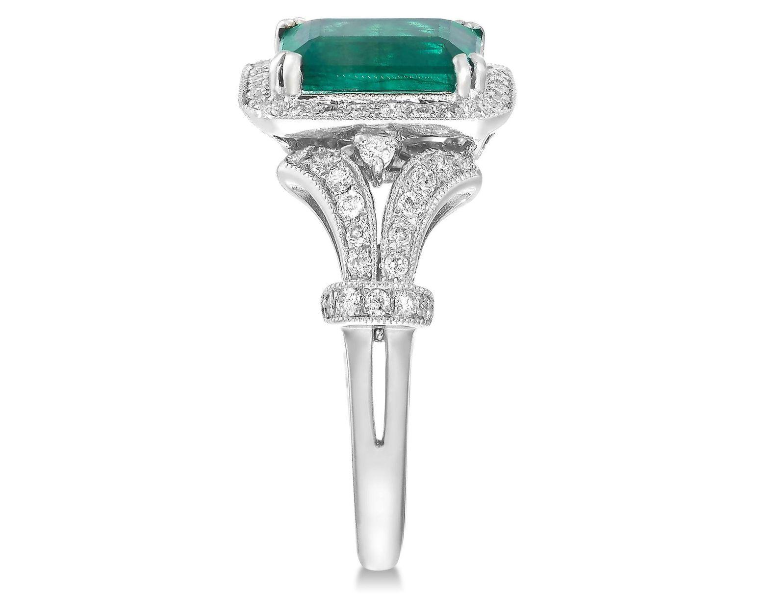 308dbeeb57945 Women's Green Brasilica By Effy Emerald (1-3/8 Ct. T.w.) And Diamond (3/8  Ct. T.w.) Emerald-cut Ring In 14k White Gold