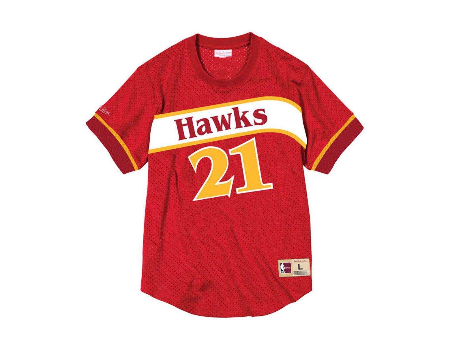 9585f2b49 Men's Red Dominique Wilkins Atlanta Hawks Name And Number Mesh Crewneck  Jersey